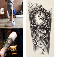 New style For Men Temporary Large Mechanical Arm Tattoo Sticker Women Fake Transfer Tattoo Chest 3D Sexy Black Clock Tattoos 1pc