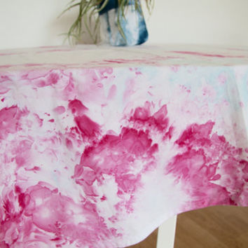Ice dyed tablecloth