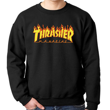 New 2017 fashion autumn winter men sweatshirt mens trasher hoodies and thrasher hoodie sweatshirts cotton o neck brand hip hop