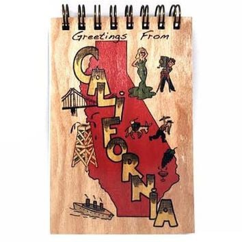 Wood Notepad Vintage Greetings California Small