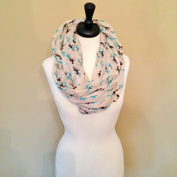 Horse Infinity Scarf Runnning Fall Winter Soft Large SALE