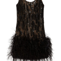 Oscar de la Renta Ostrich feather-trimmed silk-mesh dress - 65% Off Now at THE OUTNET