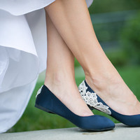 Navy Blue Bridal Ballet Flats with Ivory Lace Applique. US Size 9