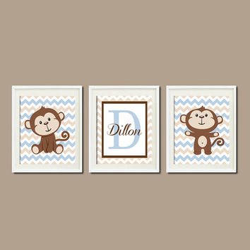 Monkey Nursery Art Decor Monogram Name Lagoon Blue Chevron Set of 3 Prints Personalized Nursery Art  Picture Wall Art Baby Shower Bedding