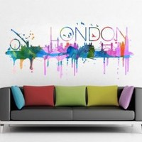 London watercolor skyline - 148 x 66 cm | 58.3 x 26 inches