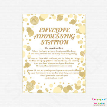 Envelope Addressing Station Sign, Gold Baby Shower Printable, Write Your Address Glitter Confetti, Gender Neutral, Instant Download CB0003-g
