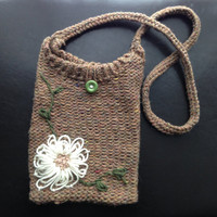 Brown Knit Bag with White Flower