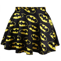 Women Girls Digital Print Batman  Stretchy Flared Pleated Casual Mini Skirt (Size: M, Color: Multicolor) = 1928022788