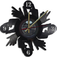 Hands Theme Vinyl Record Clock Upcycled vinyl records Great Gift