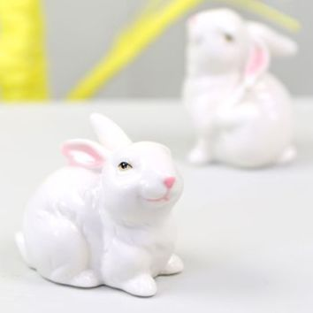 White Ceramic Easter Bunny Ornament