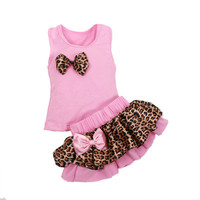 2Pcs Sets Leopard skirt Tutu shirt 4 Color