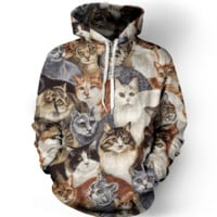 3D Kitty Cats Pattern Womens Sweatshirt Hoodies
