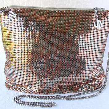 Vintage Whiting and Davis Mesh Shoulder Bag Copper Bronze Long Chain Strap 1970s Across Body Boho Chic Evening Purse Good Color w/ Rose Gold