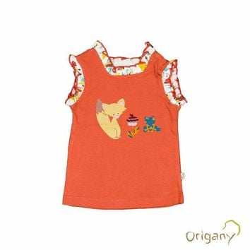 CUPUP9G Organic Jungle Fox Placement Print Baby Top