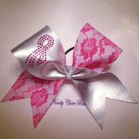 Pink Rhinestone Breast Cancer Ribbon on Silver and Pink Glitter Lace Tic Toc Cheer Bow