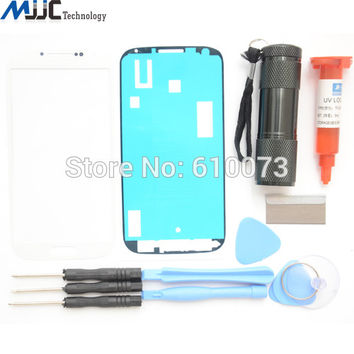 White Front Glass lens Screen Replacement Repair Kit&UV Torch Lamp For Samsung Galaxy S4 i9500 i9505 Adhesive Tools