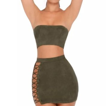 Two's Company Army Green Faux Suede Strapless Crop Top Lace Up Mini Skirt Two Piece Dress