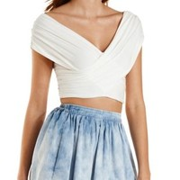 Off-the-Shoulder Ruched Wrap Crop Top