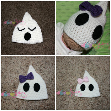 Crochet Ghost Hat, Halloween Hat, Fall, Autumn, Cute Spooky Ghost, Boy or Girl, Newborn, Baby, Infant, Toddler, Child, Costume, Photo Prop