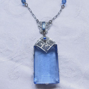 Antique Art Deco Necklace, Cobalt Blue Emerald Cut Pendant, Rhodium Filigree Setting, Beaded Chain