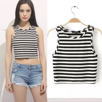 Stylish Beach Comfortable Bralette Hot Summer Sexy Sleeveless Crop Top Tops Slim Stripes Camisole Vest [6048291201]