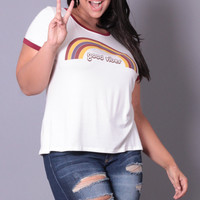 Plus Size Good Vibes Tee - Ivory