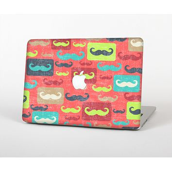 The Vintage Coral and Neon Mustaches Skin Set for the Apple MacBook Pro 15""