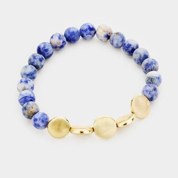 Sodalite and Gold Disc Bracelet