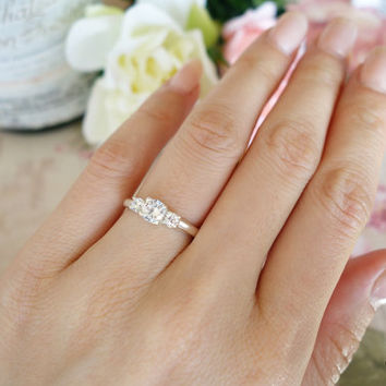 1 Carat 3 Stone Round Filigree Engagement Ring, Flawless Man Made White Diamond Simulants, Wedding, Bridal, Sterling Silver or 14k Gold