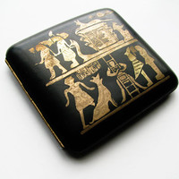 Vintage Cigarette Case with Inlay Egyptian Motif in Black and Gold, Collectible / Credit Card Case - Le Cas de Cigarettes.