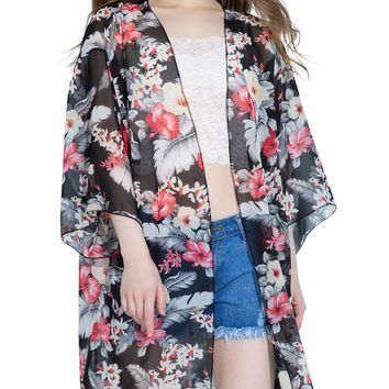 Streetstyle  Casual Feather Floral Hollow Out Chiffon Kimono