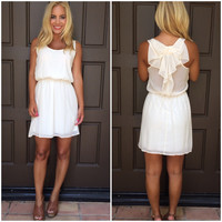 Renee Sleeveless Bow Back Dress - IVORY