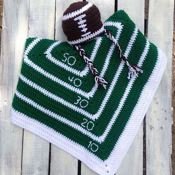 Blanket, Newborn, Football, Crochet, Hat, Beanie, Baby Hat, Layering Blanket, Mini Blanket, Wrap, Baby Wrap, Photo Prop, Photography Prop