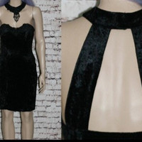 90s Choker Dress Bodycon Crushed Velvet Black Cocktail Prom Evening Party Grunge Cyber Goth Hipster Cut Out Back Gothic Mini Bustier S M