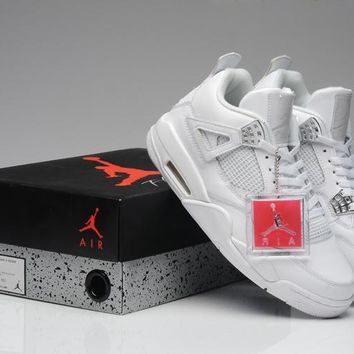 Nike Air Jordan Retro 4s Pure Money 4 White Silver Basketball Shoes
