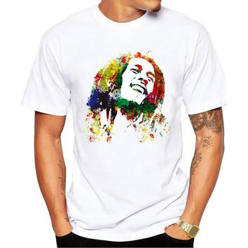 New Fashion Men Music Style T Shirt Bob Marley Printed T Shirt Mens T-shirt Homme Brand Clothing