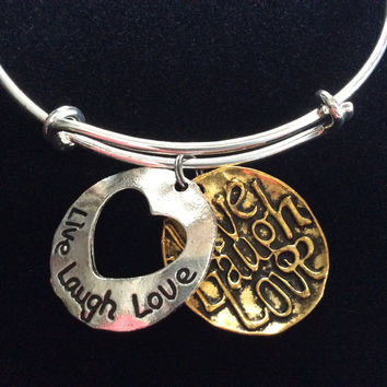 Live Love Laugh Gold and Silver Disk Charms on a Silver Expandable Wire Bangle Bracelet Gift Adjustable Trendy Handmade in USA