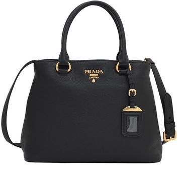 Prada Women's Black Vitello Phenix Leather Adjustable Handbag Tote 1BA058