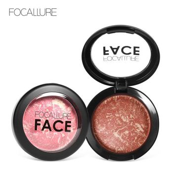 Focallure Face Baked Blush Makeup Palette 6Colors Waterproof Natural Charming Cheek Face Contouring Highlighter Baked Blusher