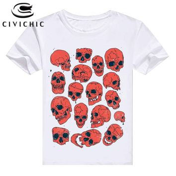 Short Sleeves T Shirt Women Skulls Bone Ghost Punisher Print