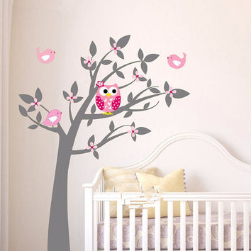 Owl Birds Vinyl Wall Stickers Tree Branches Art Decals Baby Room Wallpaper Poster Decor DIY 150*200CM Home Decoration Xmas