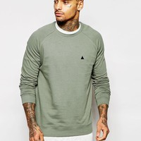 ASOS | ASOS Sweatshirt With Embroidery In Washed Green at ASOS