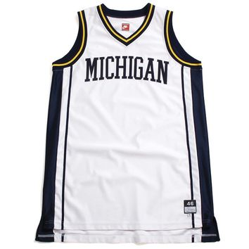 University of Michigan Tackle Twill Arch Nike Basketball Jersey White (46 - XL)