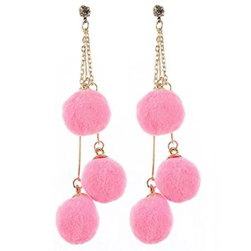 PInk 3 Ball Multi Layered Chain Pom Pom Earrings ALE26385GDPNK