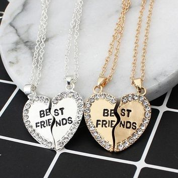 M MISM Unisex 2 Pcs Bff Necklace Heart Pendant Best Friends Letter Necklace Women Metal Couple Harf Kolye Gold Chain Jewelry Men