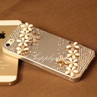 """1PCS Handmade Crystal and pink Cherry cell phone case for iPhone 4 4s Or iphone 5/5s 5C / or iPhone 6 (4.7"""") or iphone 6 plus 5.5"""" cover"""