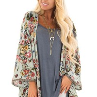 Dusty Sage Floral Print Kimono with Embroidered Trim