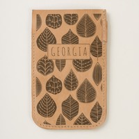 Primitive art leaves pattern handmade leather iPhone 6/6S case