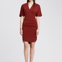 Banana Republic Womens Shirred Faux Wrap Dress