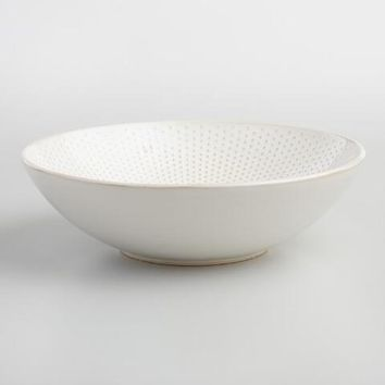 Large White Textured Stoneware Bowl